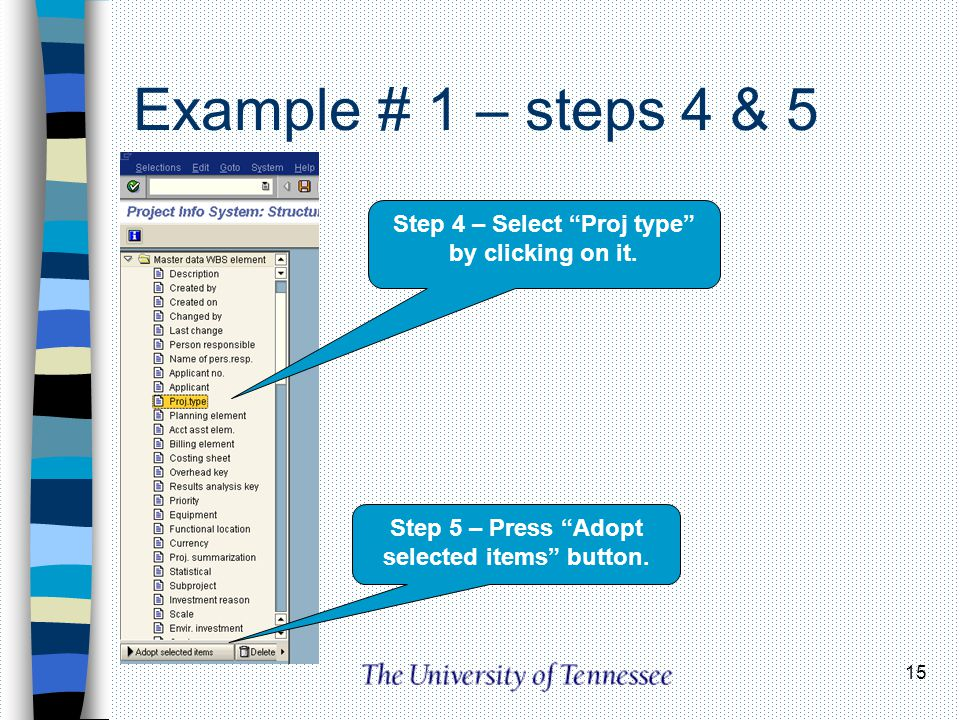 15 Example # 1 – steps 4 & 5 Step 4 – Select Proj type by clicking on it. Step 5 – Press Adopt selected items button.
