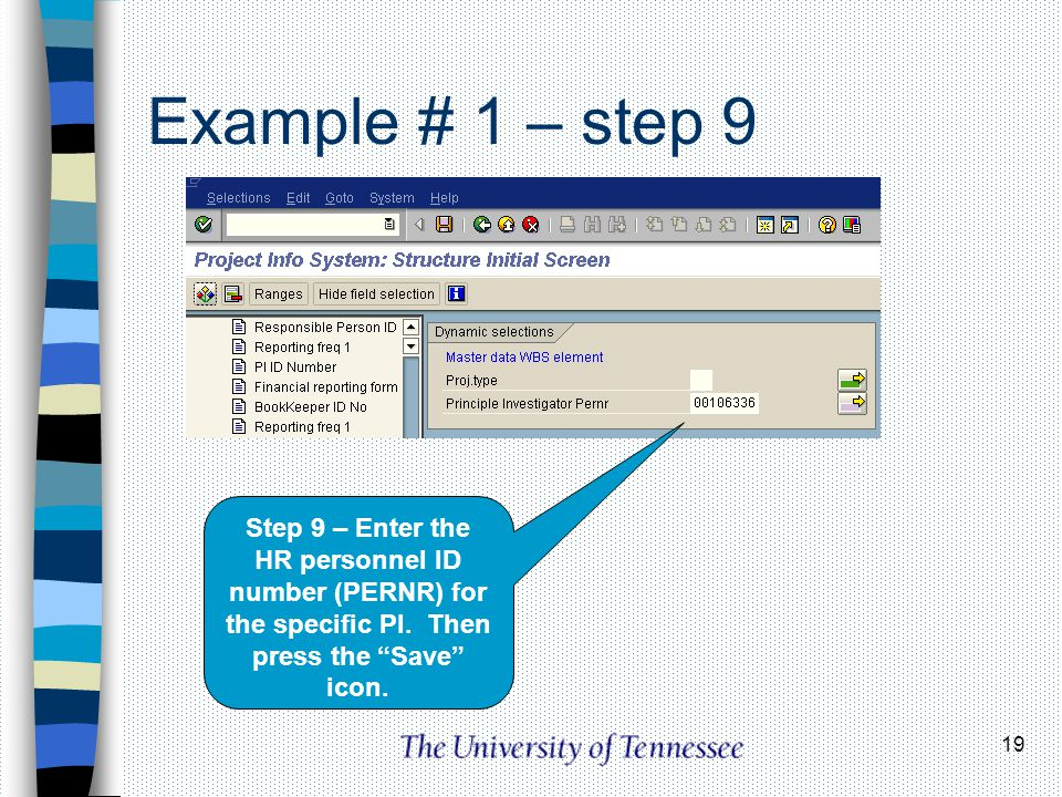 19 Example # 1 – step 9 Step 9 – Enter the HR personnel ID number (PERNR) for the specific PI. Then press the Save icon.