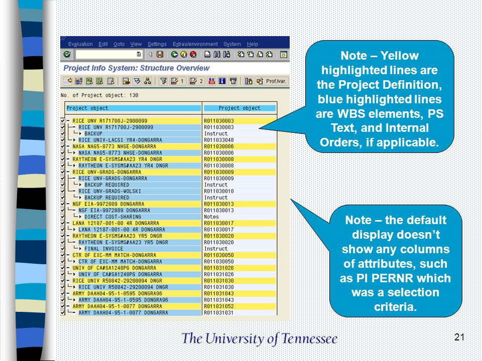 21 Note – Yellow highlighted lines are the Project Definition, blue highlighted lines are WBS elements, PS Text, and Internal Orders, if applicable. N