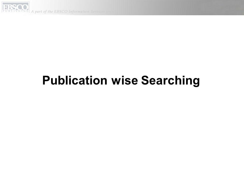 Publication wise Searching