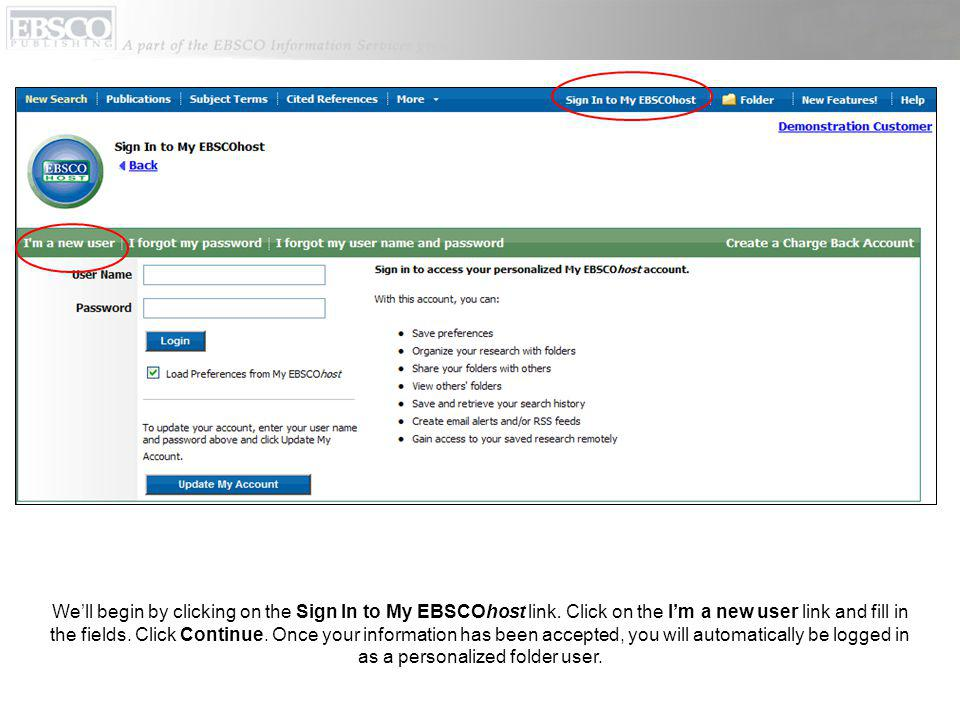 Well begin by clicking on the Sign In to My EBSCOhost link.