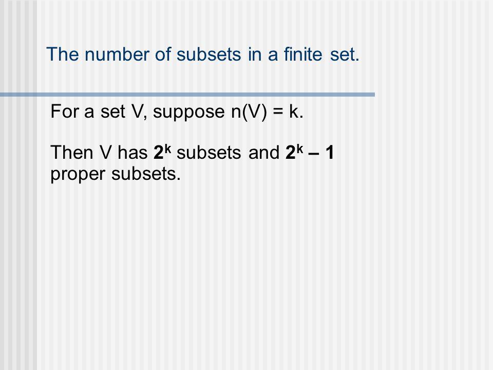 The number of subsets in a finite set. For a set V, suppose n(V) = k.