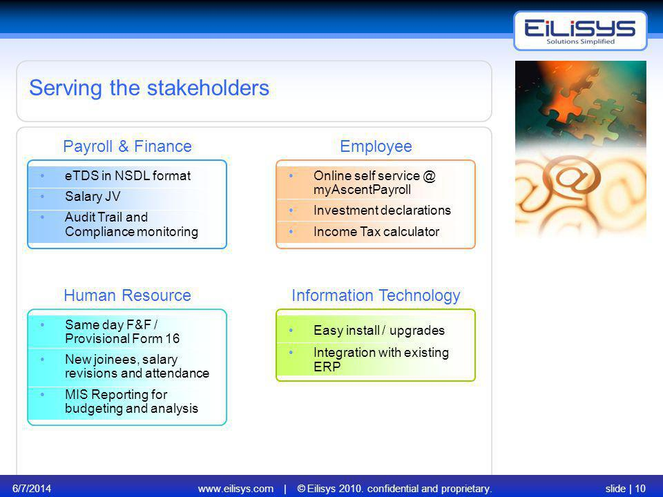 6/7/2014www.eilisys.com | © Eilisys 2010. confidential and proprietary.slide | 10 Serving the stakeholders Payroll & Finance Human Resource eTDS in NS