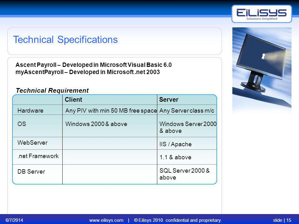 6/7/2014www.eilisys.com | © Eilisys 2010. confidential and proprietary.slide | 15 Ascent Payroll – Developed in Microsoft Visual Basic 6.0 myAscentPay