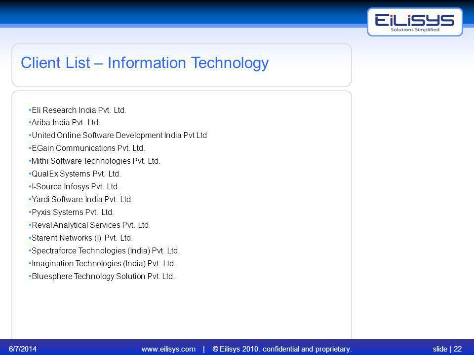 6/7/2014www.eilisys.com | © Eilisys 2010. confidential and proprietary.slide | 22 Client List – Information Technology Eli Research India Pvt. Ltd. Ar