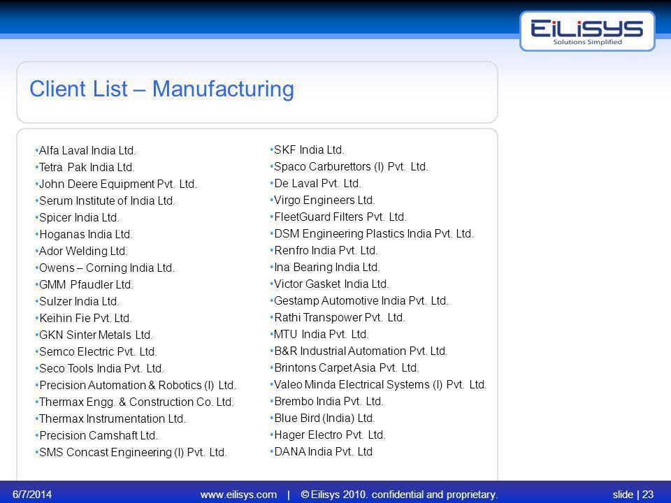 6/7/2014www.eilisys.com | © Eilisys 2010. confidential and proprietary.slide | 23 Client List – Manufacturing Alfa Laval India Ltd. Tetra Pak India Lt