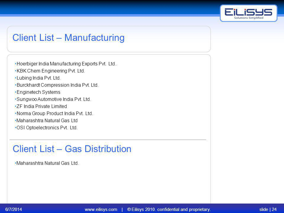 6/7/2014www.eilisys.com | © Eilisys 2010. confidential and proprietary.slide | 24 Client List – Manufacturing Hoerbiger India Manufacturing Exports Pv