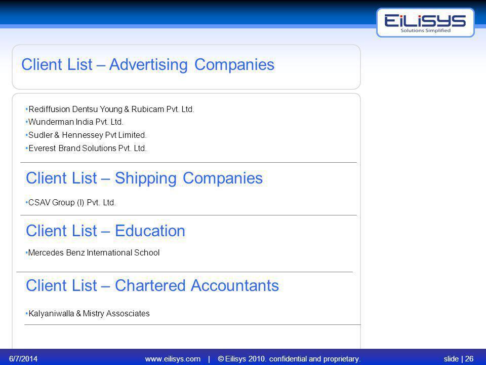 6/7/2014www.eilisys.com | © Eilisys 2010. confidential and proprietary.slide | 26 Client List – Advertising Companies Client List – Shipping Companies