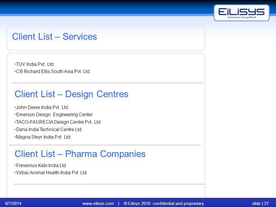 6/7/2014www.eilisys.com | © Eilisys 2010. confidential and proprietary.slide | 27 Client List – Services Client List – Design Centres John Deere India