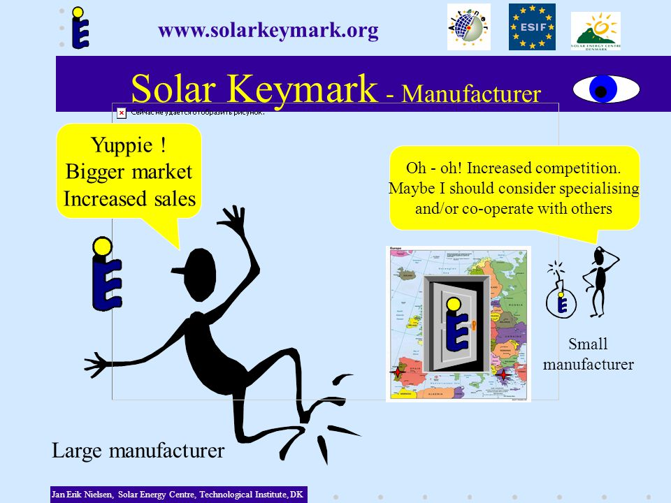 Solar Keymark - Manufacturer Jan Erik Nielsen, Solar Energy Centre, Technological Institute, DK Yuppie .
