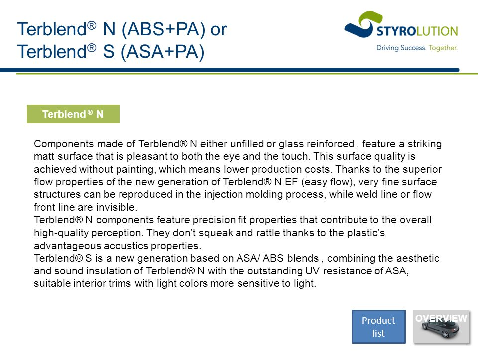 Terblend ® N (ABS+PA) or Terblend ® S (ASA+PA) Components made of Terblend® N either unfilled or glass reinforced, feature a striking matt surface tha