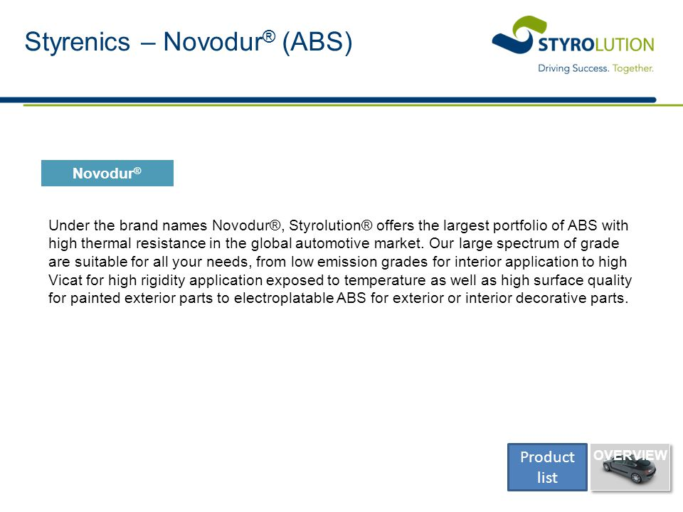 Styrenics – Novodur ® (ABS) Under the brand names Novodur®, Styrolution® offers the largest portfolio of ABS with high thermal resistance in the globa