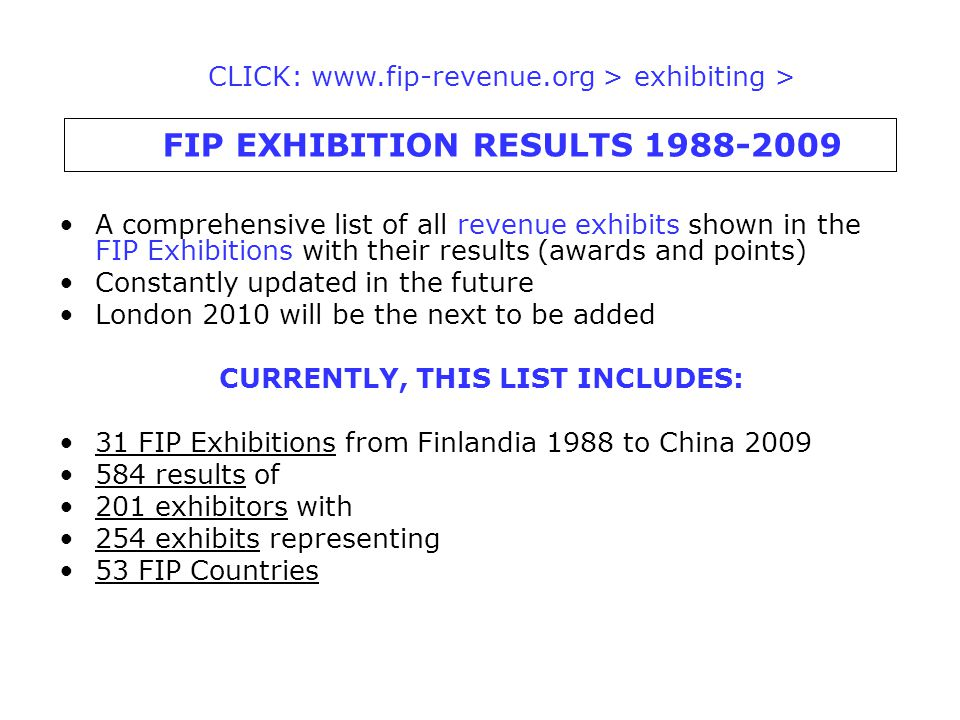 A comprehensive list of all revenue exhibits shown in the FIP Exhibitions with their results (awards and points) Constantly updated in the future Lond