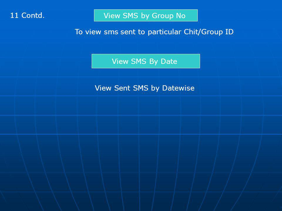 11 Contd. View SMS by Group No To view sms sent to particular Chit/Group ID View SMS By Date View Sent SMS by Datewise