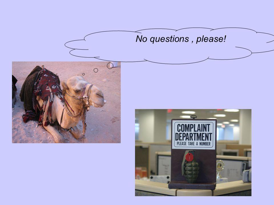 No questions, please!