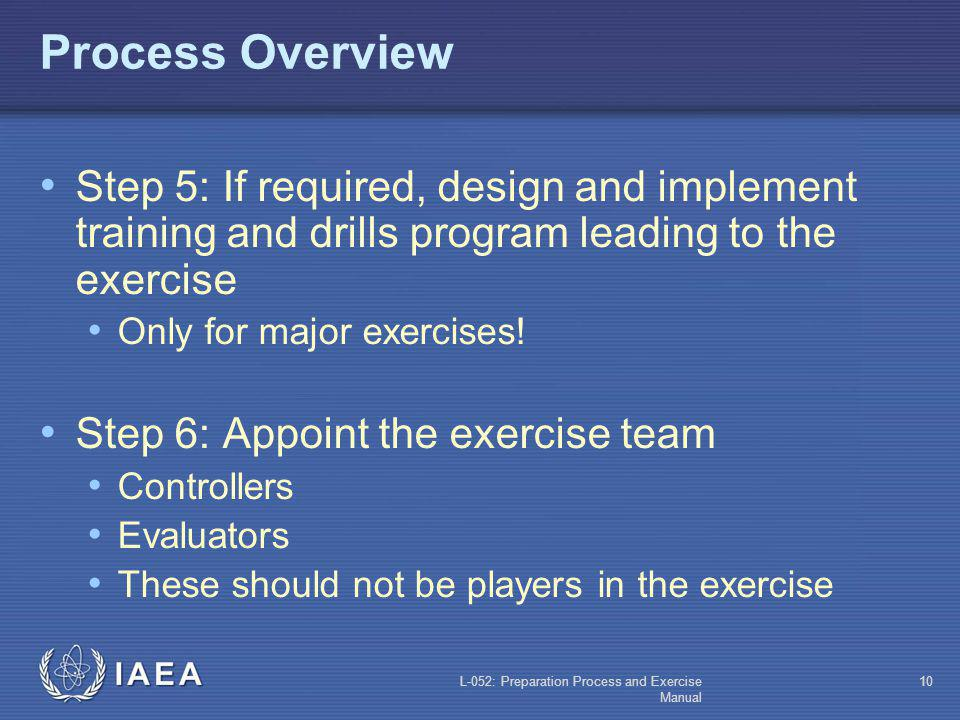 L-052: Preparation Process and Exercise Manual 9 Process Overview Step 3: Appoint a scenario design team Develop the scenario and exercise data Develo