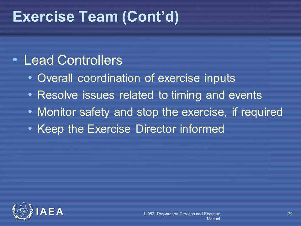 L-052: Preparation Process and Exercise Manual 28 Exercise Team (Contd) Exercise Director Overall exercise preparation and conduct Go/no go decisions