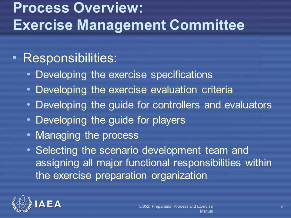 L-052: Preparation Process and Exercise Manual 4 Process Overview Exercise Management Committee Exercise director Lead controller Lead evaluator Repre