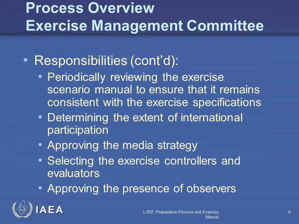 L-052: Preparation Process and Exercise Manual 5 Process Overview: Exercise Management Committee Responsibilities: Developing the exercise specificati