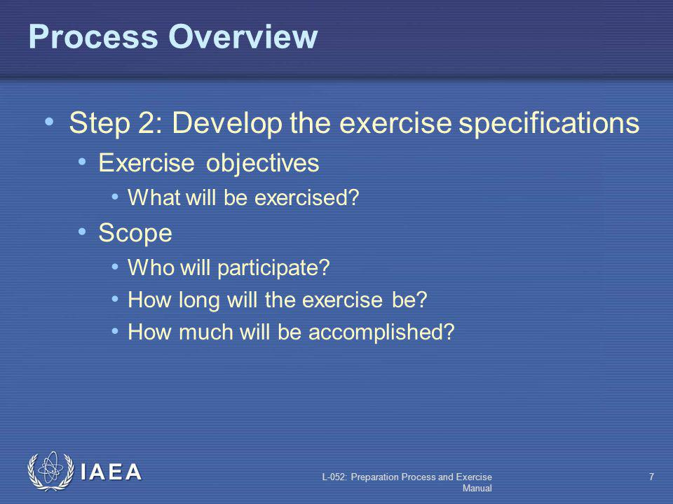 L-052: Preparation Process and Exercise Manual 6 Process Overview Exercise Management Committee Responsibilities (contd): Periodically reviewing the e