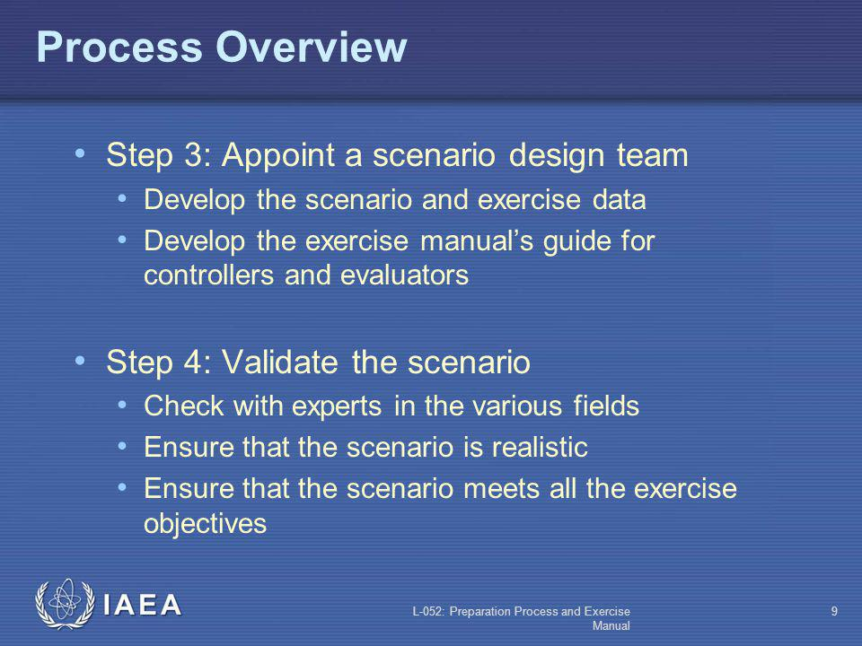 L-052: Preparation Process and Exercise Manual 9 Process Overview Step 3: Appoint a scenario design team Develop the scenario and exercise data Develop the exercise manuals guide for controllers and evaluators Step 4: Validate the scenario Check with experts in the various fields Ensure that the scenario is realistic Ensure that the scenario meets all the exercise objectives