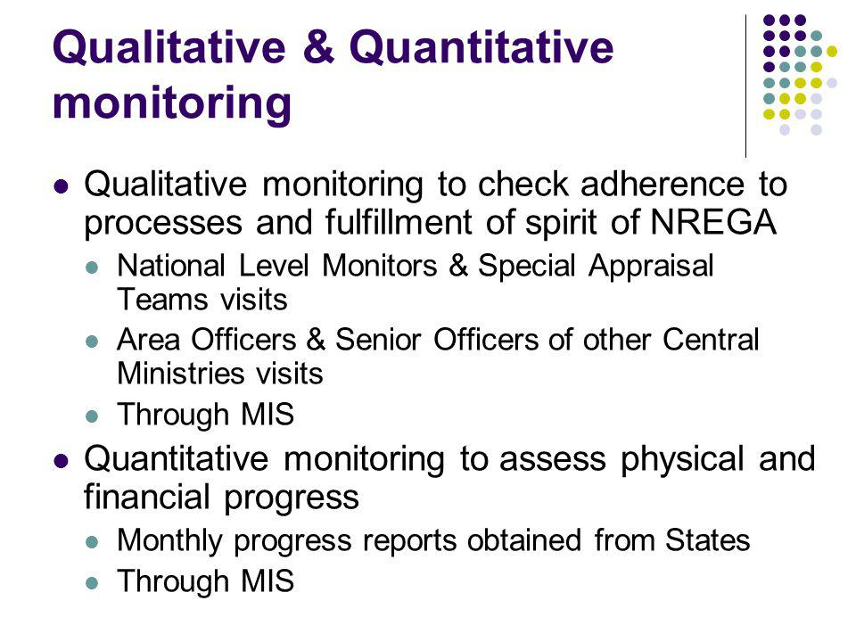 Qualitative & Quantitative monitoring Qualitative monitoring to check adherence to processes and fulfillment of spirit of NREGA National Level Monitors & Special Appraisal Teams visits Area Officers & Senior Officers of other Central Ministries visits Through MIS Quantitative monitoring to assess physical and financial progress Monthly progress reports obtained from States Through MIS