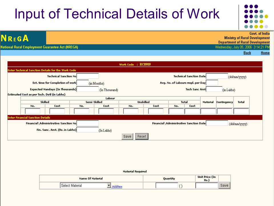 Input of Technical Details of Work
