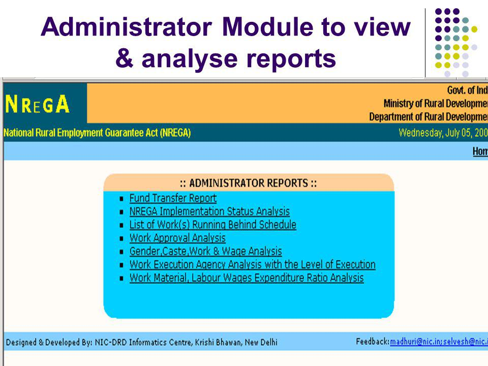 Administrator Module to view & analyse reports