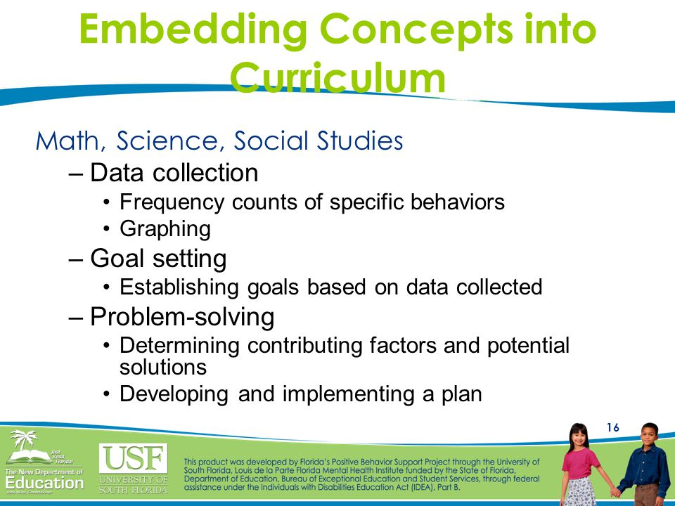 16 Embedding Concepts into Curriculum Math, Science, Social Studies –Data collection Frequency counts of specific behaviors Graphing –Goal setting Est