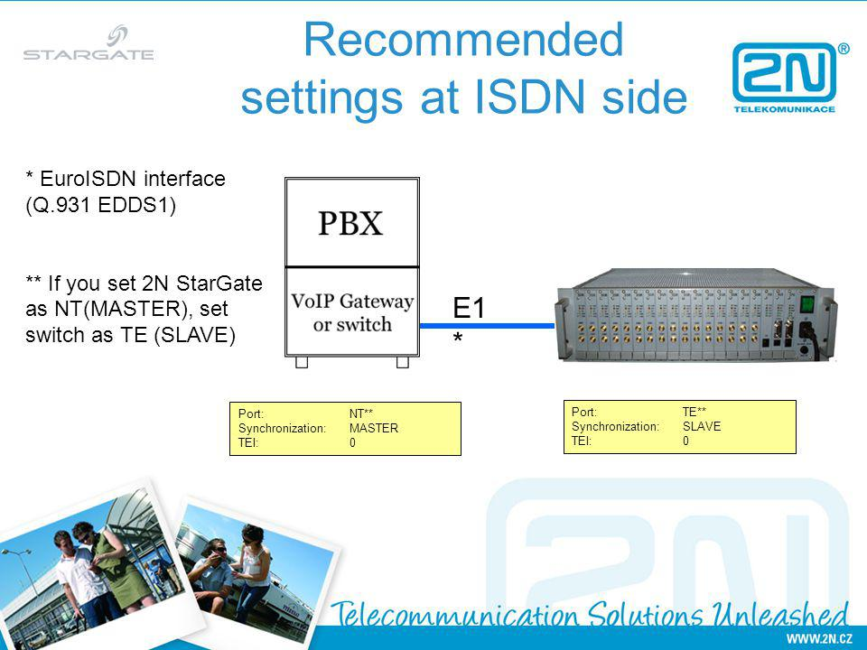 Recommended settings at ISDN side Port:NT** Synchronization:MASTER TEI:0 Port:TE** Synchronization:SLAVE TEI:0 E1 * * EuroISDN interface (Q.931 EDDS1) ** If you set 2N StarGate as NT(MASTER), set switch as TE (SLAVE)