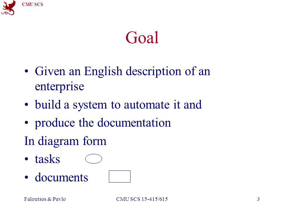 CMU SCS Faloutsos & PavloCMU SCS 15-415/6153 Goal Given an English description of an enterprise build a system to automate it and produce the documentation In diagram form tasks documents