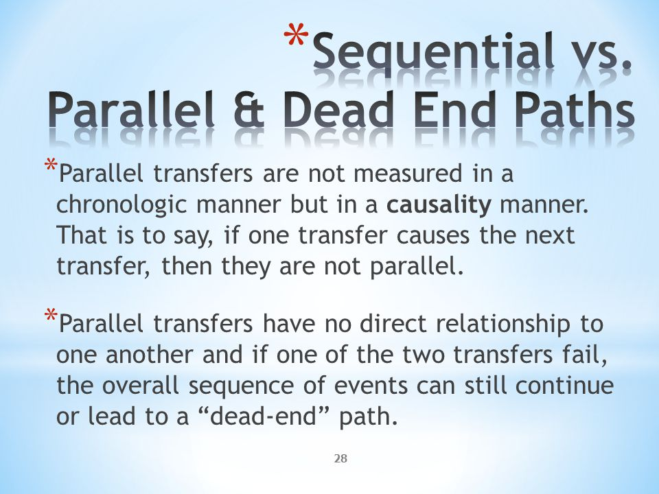 28 * Parallel transfers are not measured in a chronologic manner but in a causality manner.
