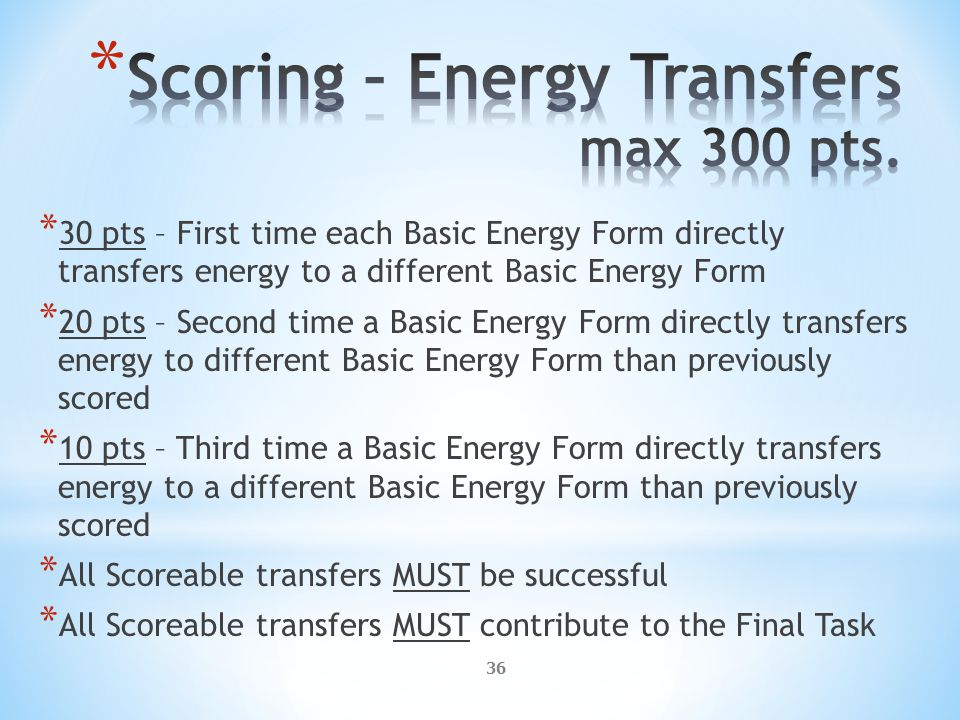 36 * 30 pts – First time each Basic Energy Form directly transfers energy to a different Basic Energy Form * 20 pts – Second time a Basic Energy Form directly transfers energy to different Basic Energy Form than previously scored * 10 pts – Third time a Basic Energy Form directly transfers energy to a different Basic Energy Form than previously scored * All Scoreable transfers MUST be successful * All Scoreable transfers MUST contribute to the Final Task