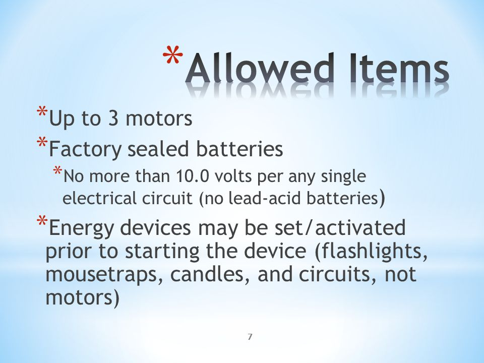 18 * Each type of Energy Transfer can score points up to 3 times * Each transfer must be to a different Energy Form * Example – * Electrical to Mechanical 30 pts.