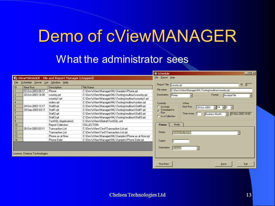 Chelsea Technologies Ltd13 Demo of cViewMANAGER What the administrator sees