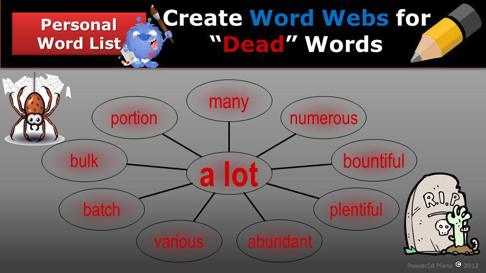 Section Header Personal Word List Word Webs Dead Create Word Webs forDead Words portion bulk batch various abundant plentiful bountiful numerous many