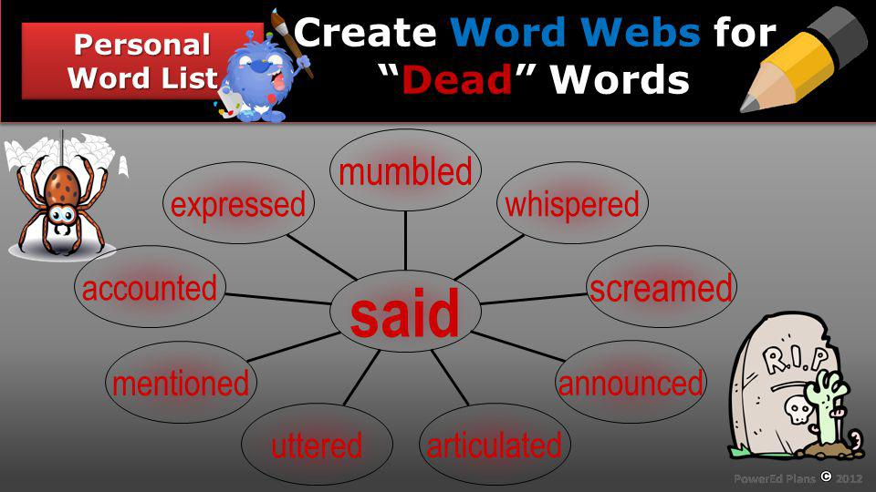 Section Header Personal Word List Word Webs Dead Create Word Webs forDead Words expressed accounted mentioned uttered articulated announced screamed w