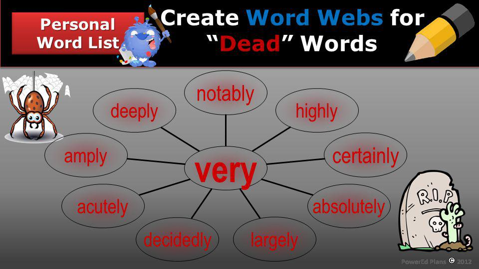 Section Header Personal Word List Word Webs Dead Create Word Webs forDead Words deeply amply acutely decidedly largely absolutely certainly highly notably very