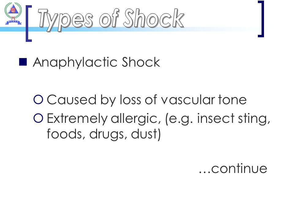 Anaphylactic Shock Caused by loss of vascular tone Extremely allergic, (e.g. insect sting, foods, drugs, dust) …continue