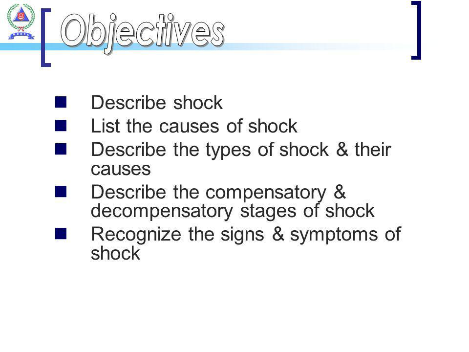 Describe shock List the causes of shock Describe the types of shock & their causes Describe the compensatory & decompensatory stages of shock Recogniz