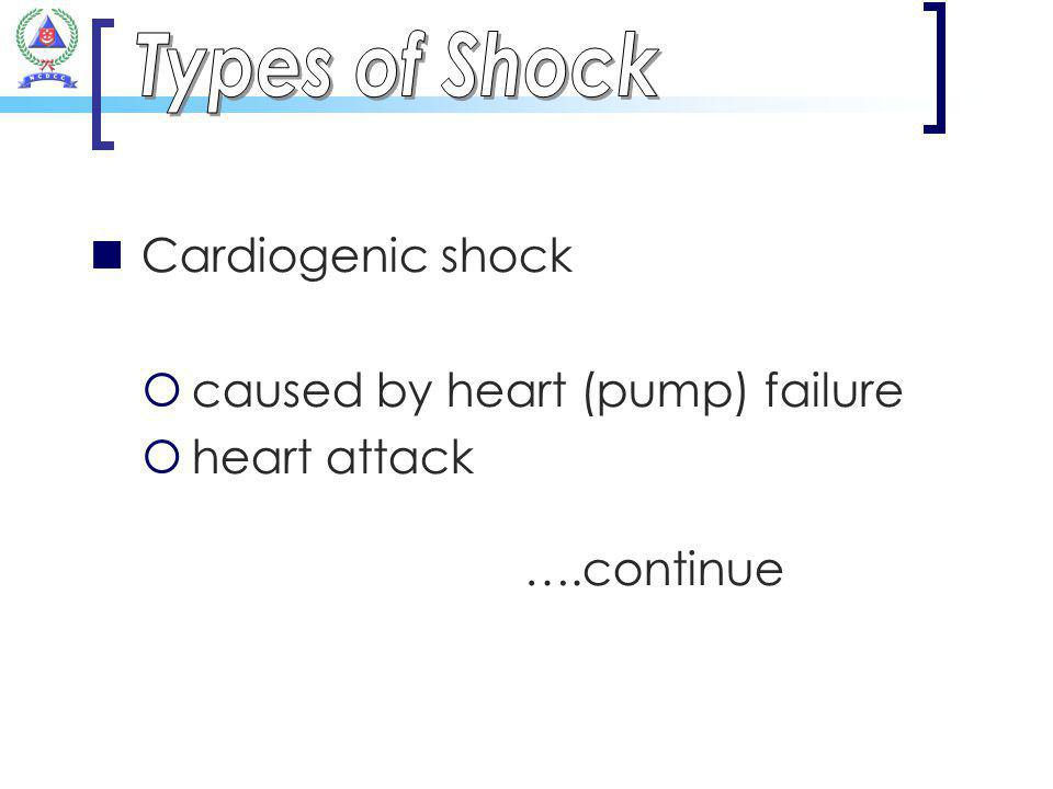 Cardiogenic shock caused by heart (pump) failure heart attack ….continue