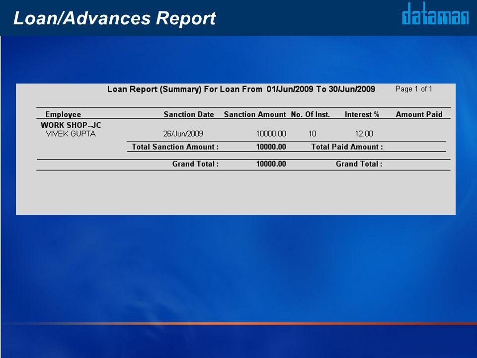 Loan/Advances Report