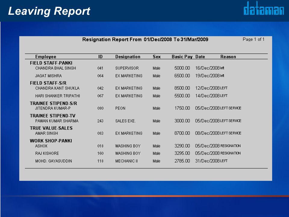 Leaving Report
