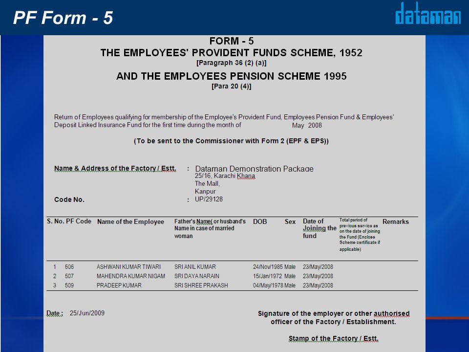 PF Form - 5