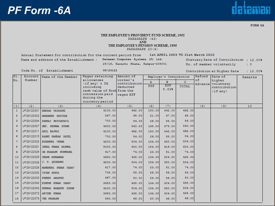 PF Form -6A