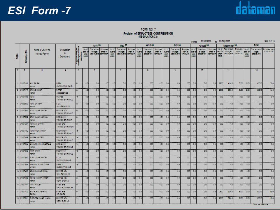 ESI Form -7