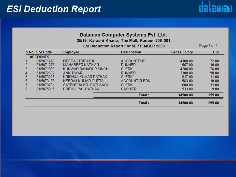 ESI Deduction Report