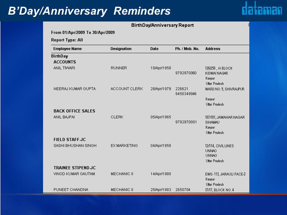 BDay/Anniversary Reminders