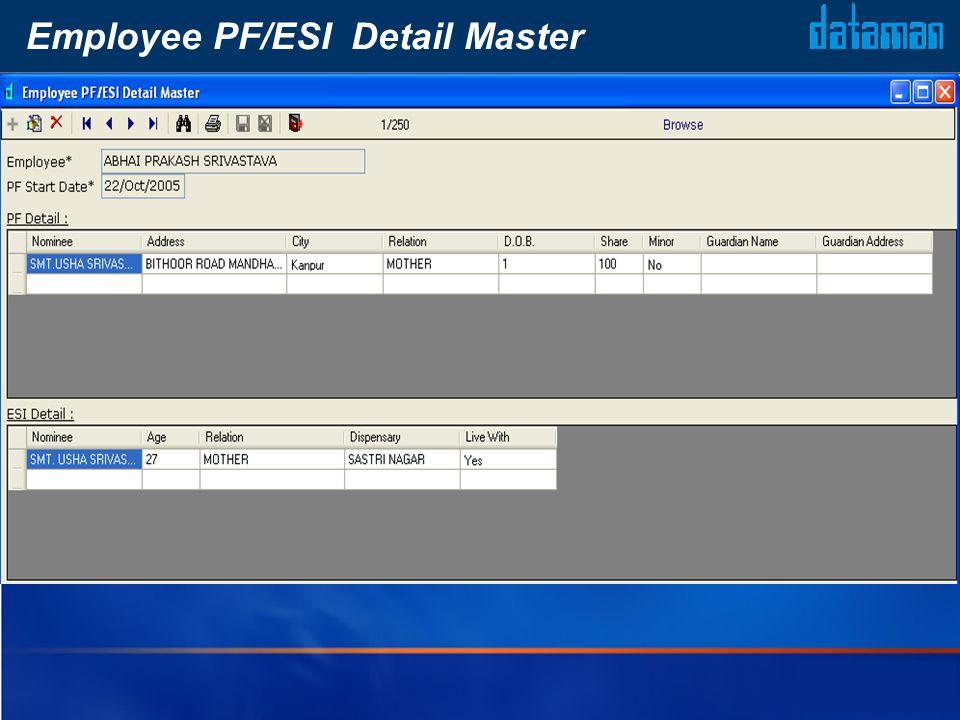 Employee PF/ESI Detail Master
