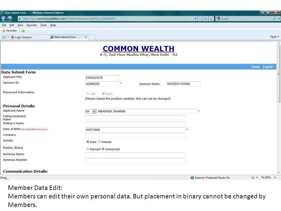 Member Data Edit: Members can edit their own personal data.
